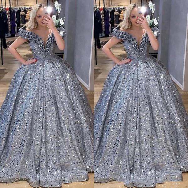 2020 brillo de plata de lentejuelas árabe bola vestido vestidos de baile fuera del hombro colmenas de la mascarada del partido Plus Vestidos vestido de noche Vestido de Festa