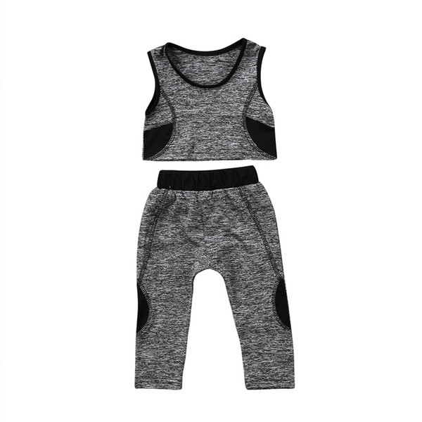 Hirigin Kinder Baby Mädchen Yoga Set Sport Gym Laufen Athletisch Aktive Weste Crop Top Hosen Elastic Quick Dry Leggings Outfit # 516037