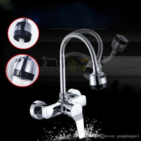 Dual style outlet water spray Kitchen bathroom basin Faucet wall Mounted Chrome Flexible Hose Kitchen Mixer Taps Dual Holes