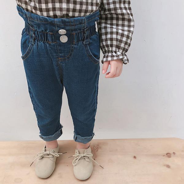 Fashion new Baby girls jeans kids ruffle high waist denim pants children double pocket cowboy casual trouser baby girl clothing F2801