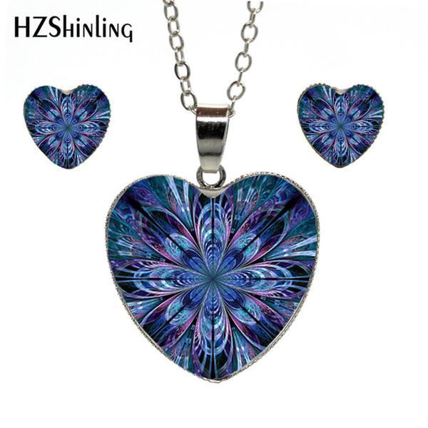 2019 Nueva Joyería de Moda Collar de Corazón Pendientes Espiritual Geometría Sagrada Flor de la Vida Conjunto de Joyas de Corazón Adornos Hechos A Mano