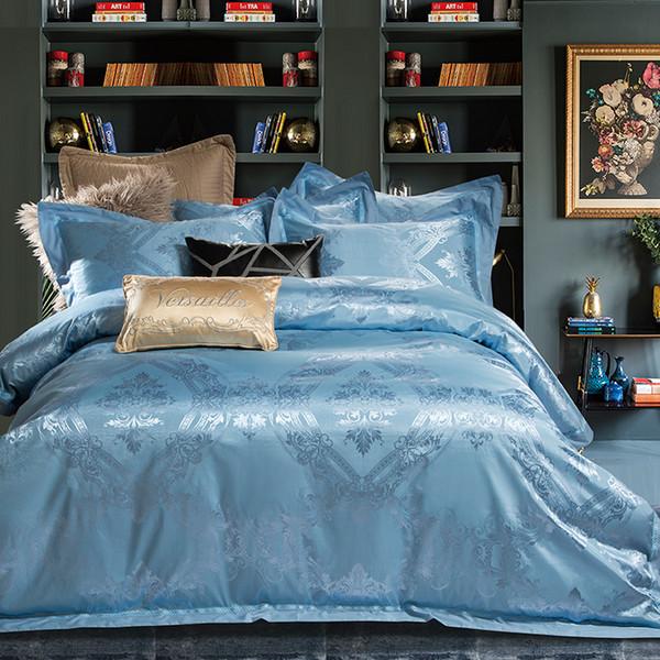 Satin Cotton Blue Silver Luxury Royal Bedding Set King Queen Size Silky Bed Set Duvet Cover Bedsheetlinen Pillowcase Quilt Comforter Sets Discount