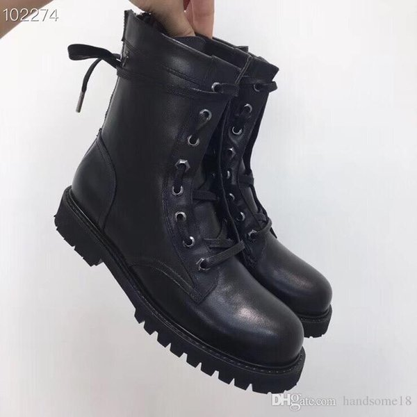 popular high Quality Lace-up Ankle Boots Women Black Leather/Rubber Army Boots Calf Luxury Fashion Shoes Back zipper booties