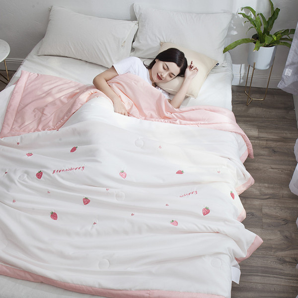 Natural High-quality Luxury Tencel Embroidery Summer Small fresh series duvet Quilt quilts thin comforter throw blankets 1pc #sw