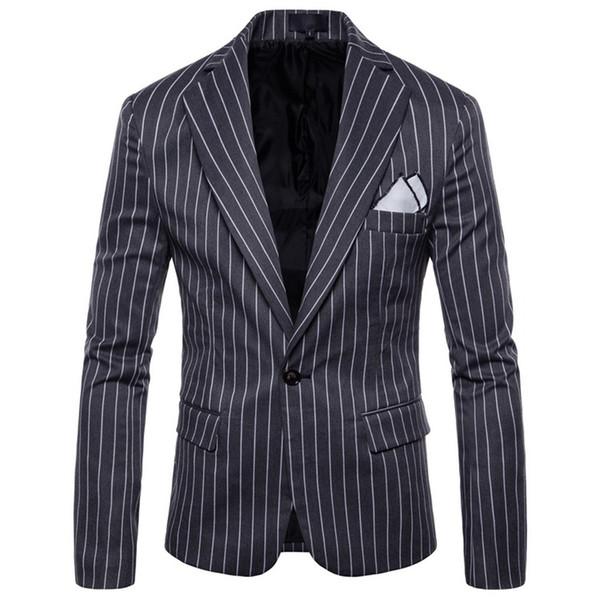 Homens de negócios stripe Casual Blazer Suit 2019 lapela Slim Fit casamento Casacos Blazers jaqueta Coats americana hombre