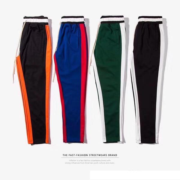 Yüksek kalite 2017 Erkekler yan Çizgili pantolon Hiphop Moda joggers sweatpants Katı Elastik Bel Rahat Pantolon yüksek sokak