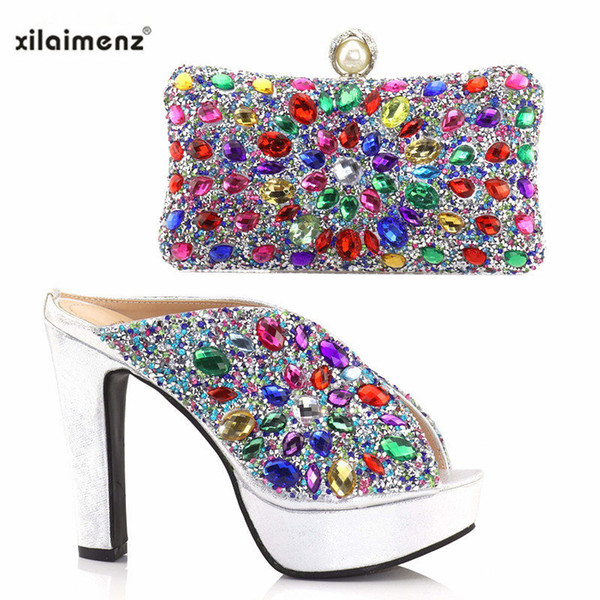 New Italian Ladies Shoes and Clutch To Match Set Decorated with Mix Color Rhinestone for Nigeria Party African Shoes