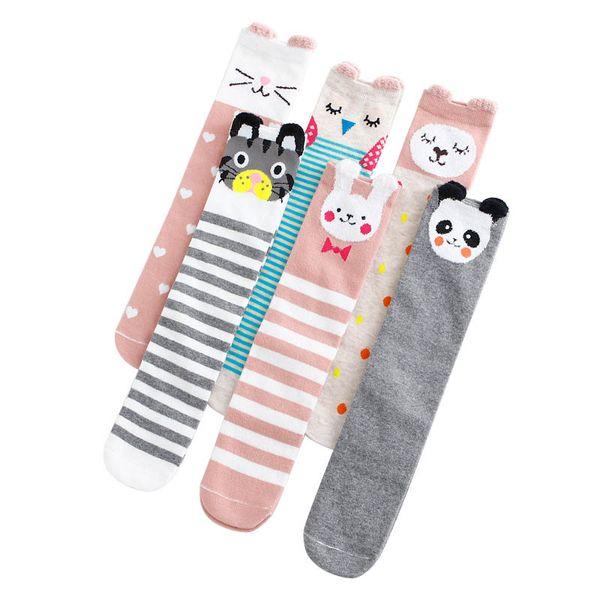 Calzini del bambino del fumetto carino cootton calzini appena nati ragazze sveglie calzettoni alti al ginocchio bambini calzino vestiti del bambino del progettista regalo del bambino A6607