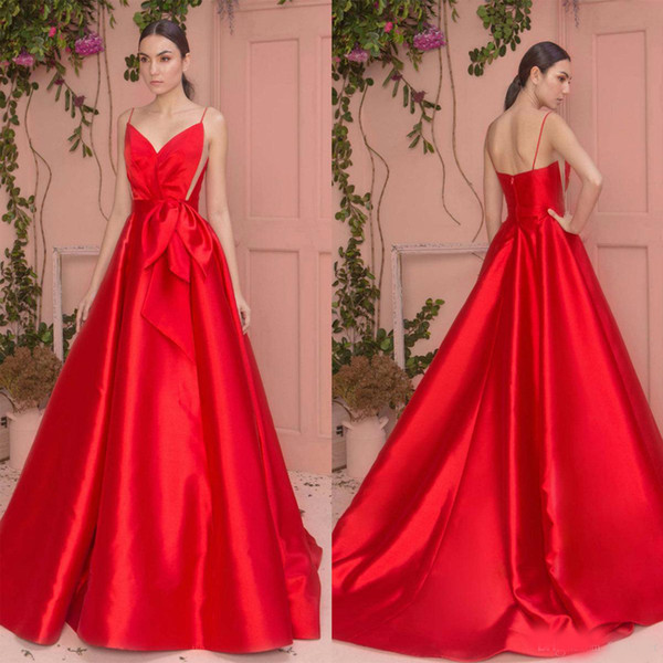 Zuhair Murad Red Evening Gowns Spaghetti A Line Satin Sweep Train Custom Made Cheap Prom Dress Bridesmaid Gowns Party Wear