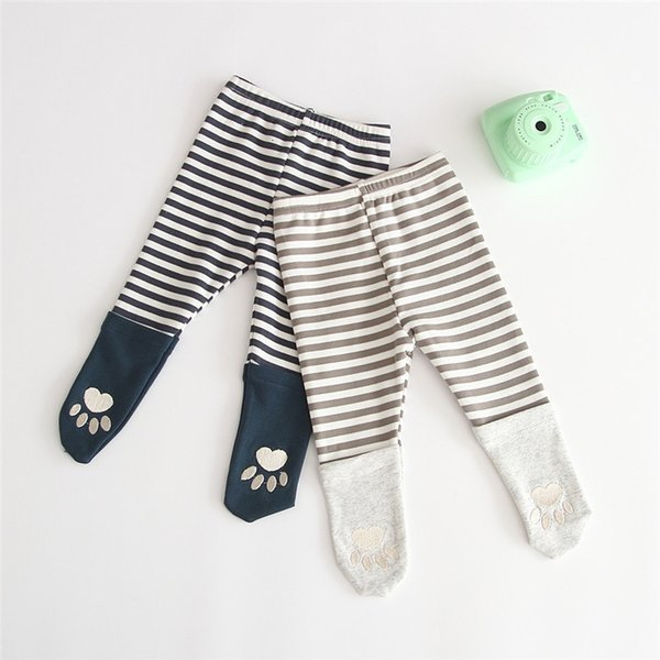New INS Toddler Baby Girls Stripes Patchwork Leggings Spring Autumn Cotton Footprint Designs Newborn Tights Newest Quality Kids Girls Pants