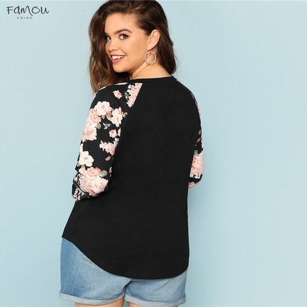 floral print raglan new sleeve casual plus size black womens floral tees autumn round neck long sleeve workwear t shirt