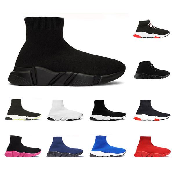 balenciaga 2019 En Kaliteli Hız Eğitmeni Çorap ayakkabı erkekler kadınlar için Üçlü siyah beyaz kırmızı Rahat ayakkabılar Moda Tasarımcısı Sneakers ayak bileği boot