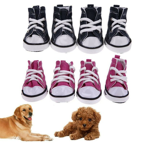 4pcs Pet Dog Anti-slip Shoes Puppy Boots Denim Sports Sneakers For Small Dog