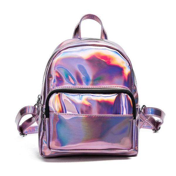 good quality 2019 New Women Backpack Zipper Pu Leather Backpack Solid Color Hologram Laser Women School Laptop Backpack