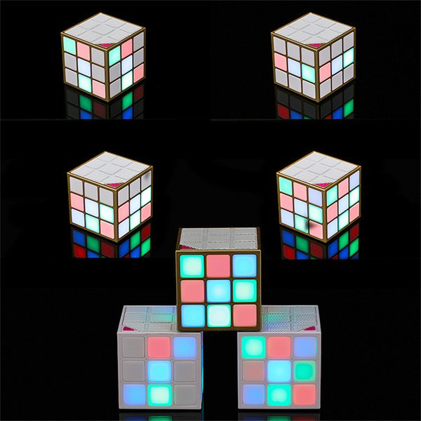 New Rubik's Cube Super Cool Mini Bluetooth Speaker Creative Colorful Colored LED Lights Mini Wireless Convenient Small Stereo Subwoofer