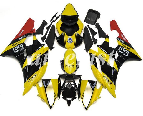 New ABS Injection Motorcycle Fairings Kit Fit for YAMAHA YZF-R6 2006 2007 06 07 R6 Custom Yellow Black