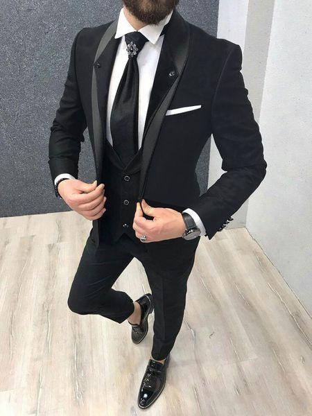 Últimos diseños Shelfl Lapel Black Groom Tuxedos Trajes de hombre para hombre de negocios formal Blazer Jacket 3 piezas Slim Fit por encargo traje Homme