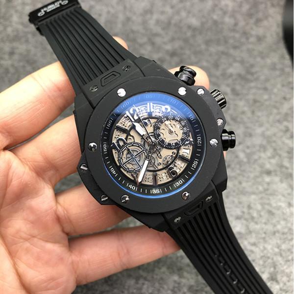 Relojes de lujo calientes Hombres Reloj deportivo multifunción de alta calidad Acero inoxidable Nueva cinta Reloj de cuarzo automático Reloj de lujo para hombre