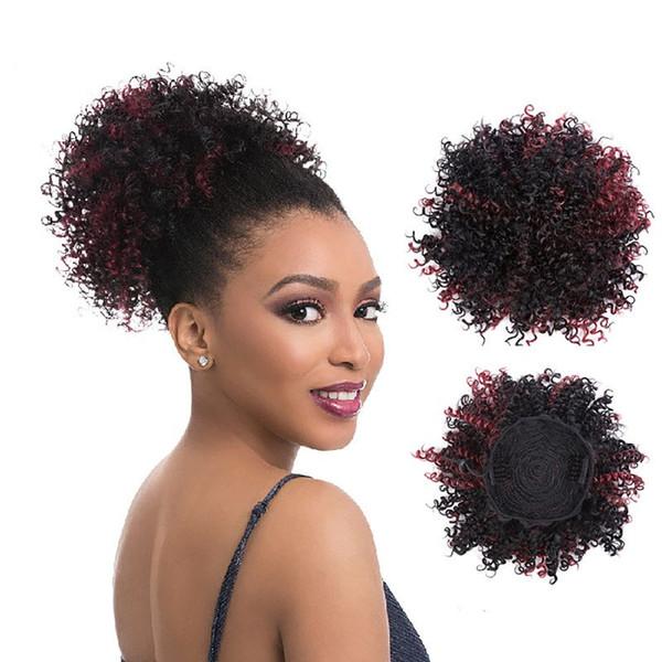 Afro Bun Puff Kinky rizado cola de caballo para las mujeres negras Clip de pelo sintético en Hairpiece 8inch