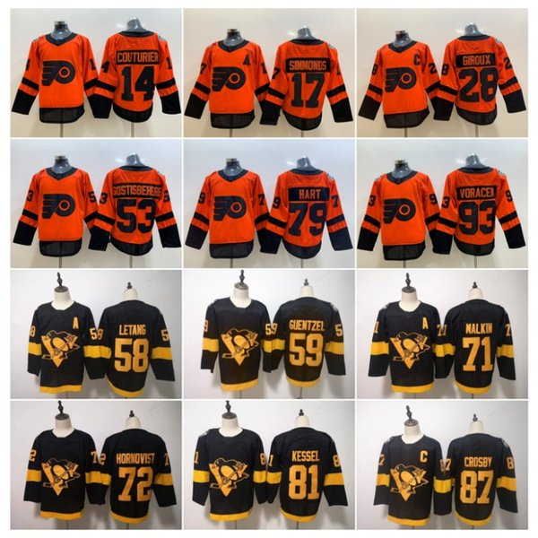 2019 Stadyum Serisi Philadelphia Flyers Pittsburgh Penguenler Forması Sidney Crosby Jake Guentzel Malkin Hornqvist Letang Giroux Hart Couturier