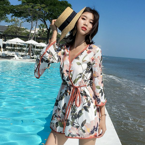 MUMUZI Floral Beach jumpsuit Women Seaside Bohemia Loose V-neck rompers Print wide leg Pants for women overalls