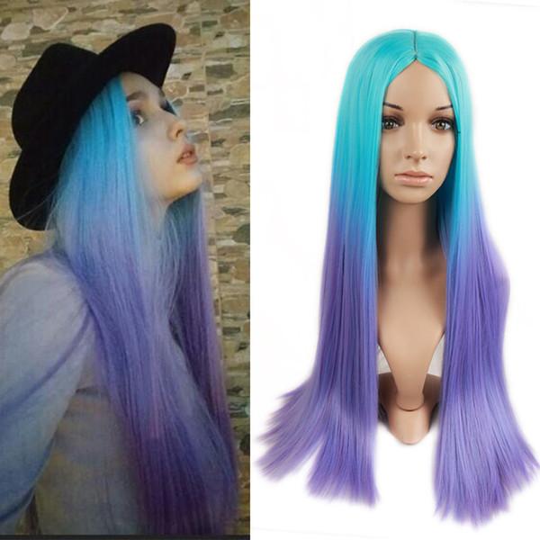 Cheveux Raides Ombre Perruque Bleu ClairPurple Couleur Synthétique Perruques Aucun Lace Front Importé Haute Température Fiber Synthétique Cheveux Pour Les Femmes Noires