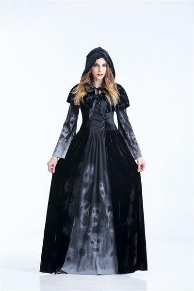 Femmes Halloween Vampire Costume de sorcière Taille Plus 2XL gothique à Capuche Robe Noir Rouge