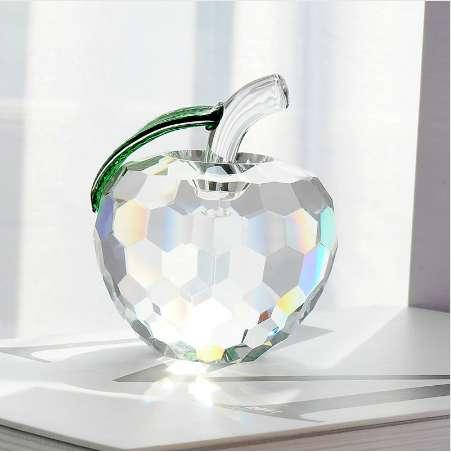 Pretty Crafts Art Crystal Apple Table Ornaments DIY Paperweight Wedding Decor Christmas Gift 3D Figurine 40mm