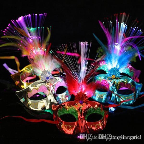 Cariel 250pc Женщины Венецианский LED Волокно Высвечи маски маскарад Необычные платья партии принцессы перо Светящиеся Маски маскарадные маски h306B