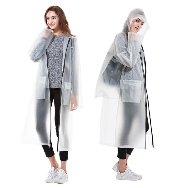 Fashion Waterproof EVA Women long Raincoat men Clear Transparent hooded Rain Coat jacket Portable Outdoor Travel Rainwear #319344