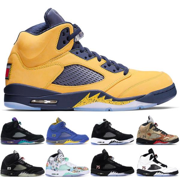 top popular Michigan 5 5s mens basketball shoes Size 7-13 black metallic fire red oreo Camo Print Wings men top designer trainers sneakers 2019