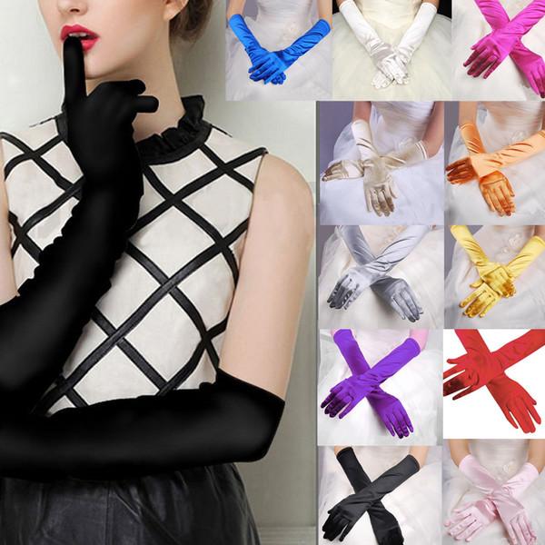 Damen Grün Blau Gelb Brautpartei-Handschuhe für Hochzeit Abend One Size Fashion Stretch Satin Opera Frauen rosa Handschuhe