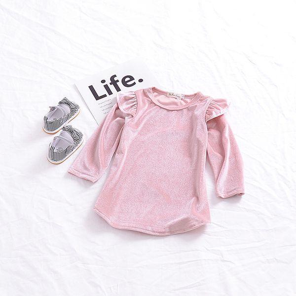 2019 New Autumn Vintage Style Baby Girl Golden Velvet Dress Cute Fly Sleeve Winter Kids Dresses for Girls Princess Pink Color