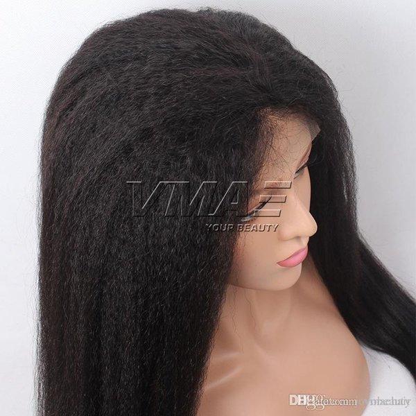 Kinky Recto Color natural Encaje Frontal Pelucas de cabello VMAE Virgin Human Hair 10