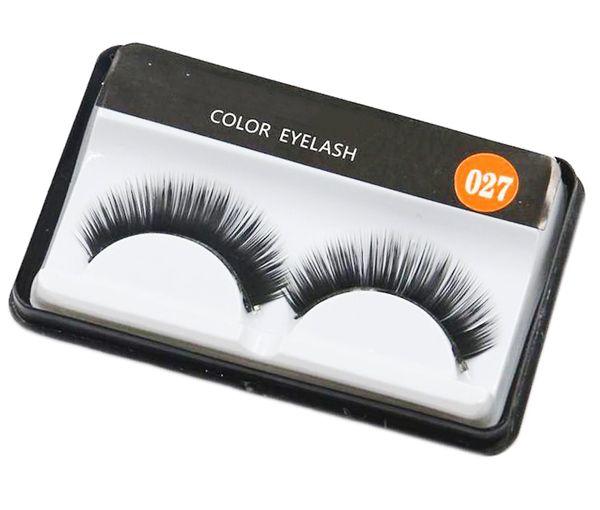 Hot #027 False Eyelashes Handmade Natural Long Curl Thick Soft Fake Eye Lash Extensions Flair Black Color Eyelashes Makeup Terrier Lashes
