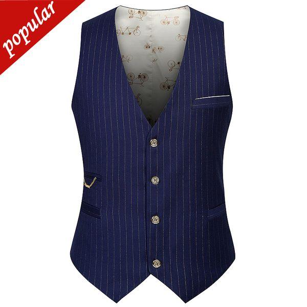 Yeni Varış Bahar Sonbahar Çizgili Elbise Yelekler Erkek Tek Göğüslü V Yaka Iş Rahat Yelek Erkekler Çalışma Yelek W662