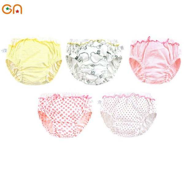 Kids 100%Cotton underwear Girl Infant Baby Cute stripe Dots ruffle Panties For 0-2T Children gifts CN