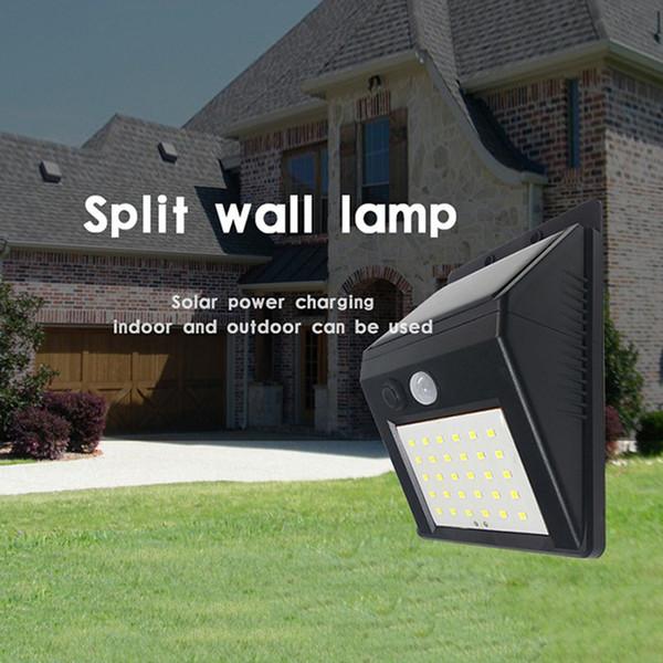 APLIQUE 1pc externa split Solar LED inteligente desmontable de infrarrojos de detección 3 modos lámpara solar a prueba de agua