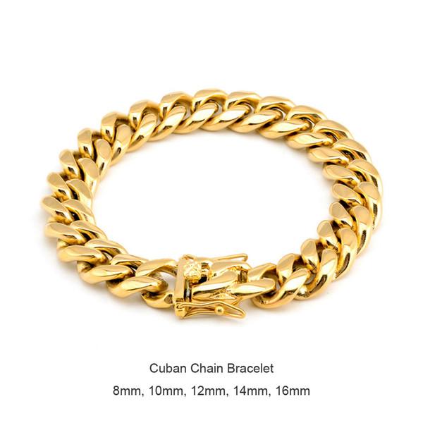 Hommes Femmes Acier Inoxydable Bracelet hautement poli Miami Cuban Curb Chain Bracelets Double sécurité fermoirs acier doré 8mm / 10mm / 12mm / 14mm / 16mm