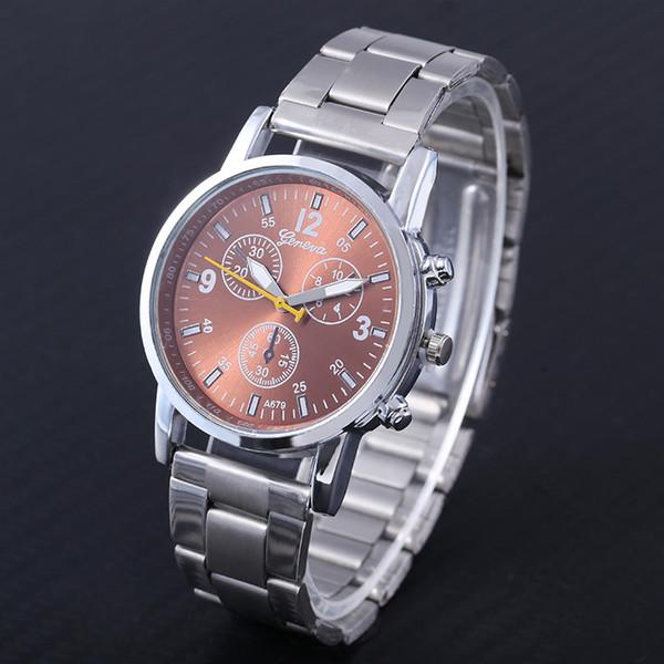 2019 New men's fake three-eye six-pin waterproof steel strap steel chain men's watch multi-functional business watch