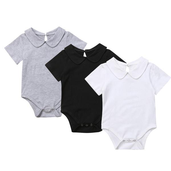 Neugeborenen Baby Mädchen Jungen Casual Bodys 3 Farben Kurzarm Peter Pan Kragen Solide Baumwolle Overalls Bodys 0-1Y