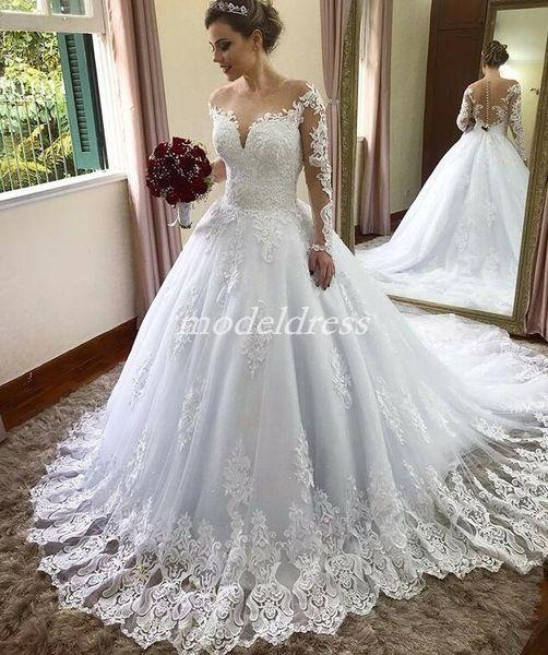 Charming White Wedding Dresses Sheer Neck Long Sleeve Sweep Train Lace Appliques Chapel Garden Country Bridal Gowns Plus Size robe de mariée