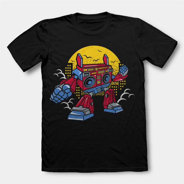 BOOMBOX ROBOT cartoon character art work parody mashup dtg mens t shirt tees High Quality Cotton Hip Hop Short Sleeve
