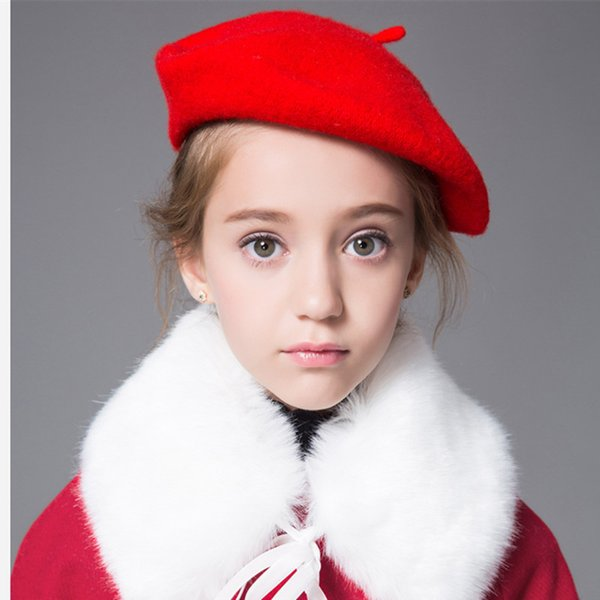 New Autumn Baby Girls Wool Berets Hat Cap Children Painters' Hats Candy Color Princess Hat 15195