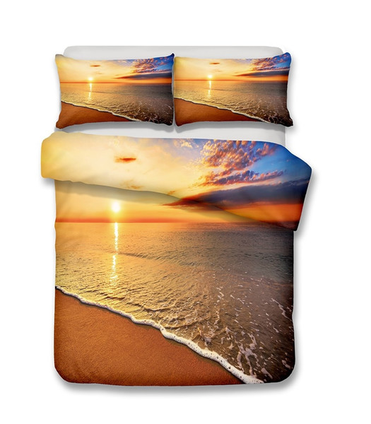 Beautiful Beach Scenery Series The Beach And Sea wave At The Sunset 3D Bedding Set Print Duvet Cover Set Lifelike Bed Sheet