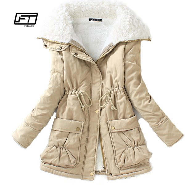 Fitaylor Winter Cotton Coat Women Slim Snow Outwear Medium-long Wadded Jacket Thick Cotton Padded Warm Cotton Parkas T5190612