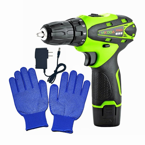 best selling 12V Hand Electric Drill Home Decoration Lithium Screwdriver Multi-function Power Tools One Battery Plus One Pair Glove Free Shipping