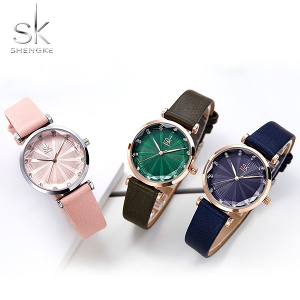 Shengke Ladies Dress Watches Luxury Diamond Women's Watch Leather Wrist Watches Gift For Wife Montre Femme Girls Hour Hot Sale