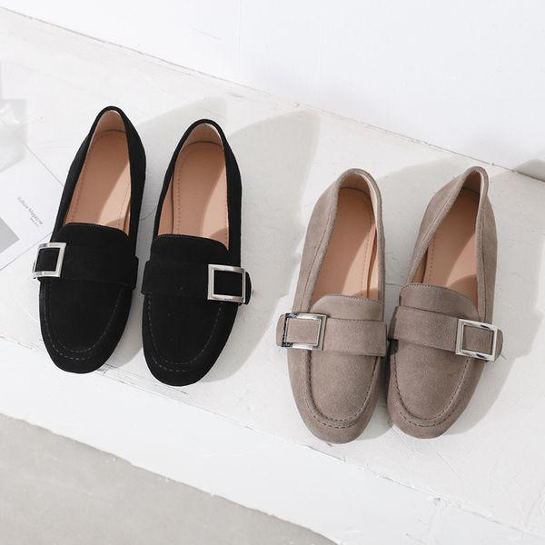 Venta caliente-nueva llegada moda cuadrado metal hebilla cuero genuino mujeres mocasines zapatos tacones planos casual mulas zapatos vestido de oficina