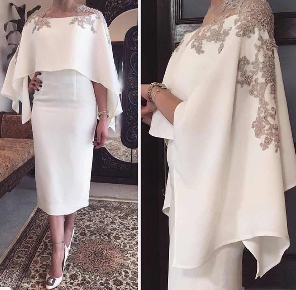 Elegant White Tea Length Mother Of The Bride Dresses With Champagne Lace APPliques Beads Wrap Groom Mother's Sheath Evening Gowns Plus Size